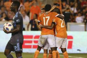 Houston Dynamo players celebrate Tomas Martinez's goal that gives them the lead against the New York City during the second half of the MLS game at BBVA Compass Stadium on Friday, May 25, 2018, in Houston. The Houston Dynamo defeated the New York City 3-1. ( Yi-Chin Lee / Houston Chronicle )