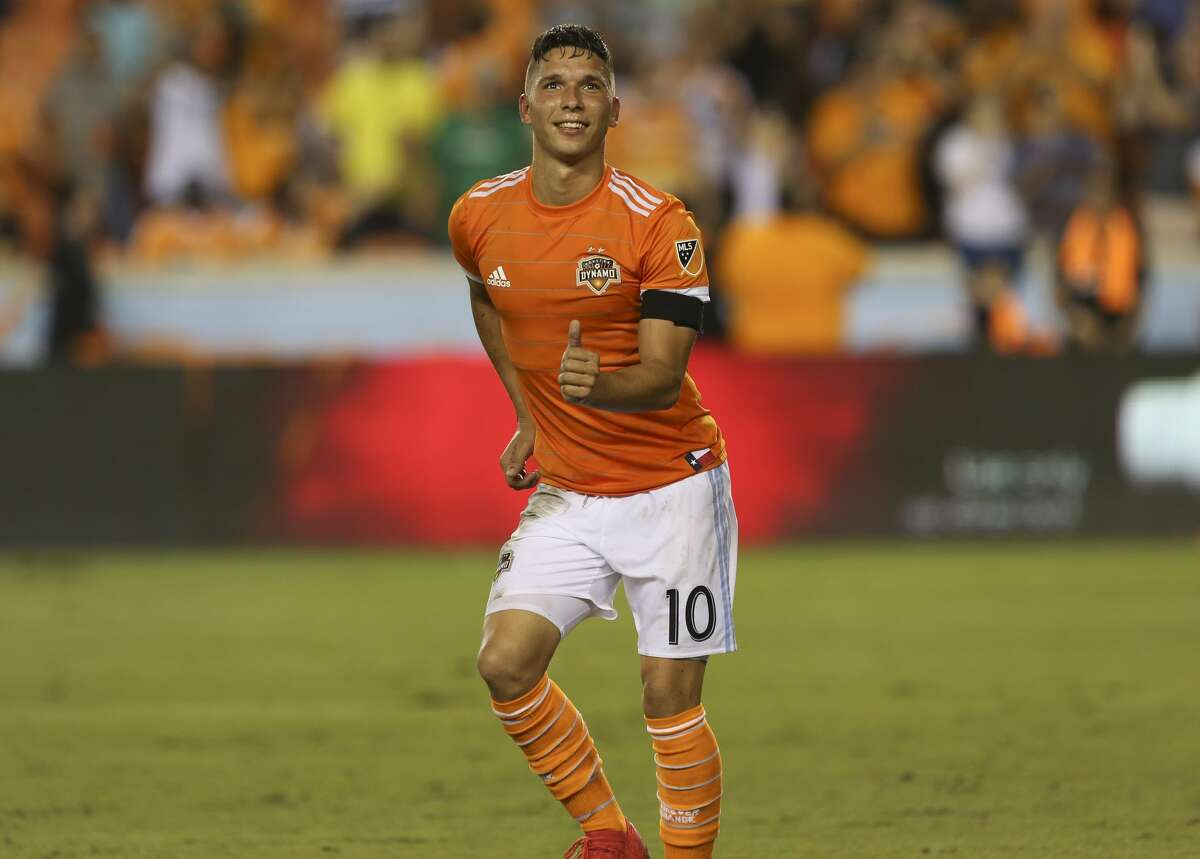 Houston Dynamo midfielder Tomas Martinez (10) shows off his dance moves after scoring a goal that gives the team the lead against the New York City at the 69th minute of the game during the second half of the MLS game at BBVA Compass Stadium on Friday, May 25, 2018, in Houston. The Houston Dynamo defeated the New York City 3-1. ( Yi-Chin Lee / Houston Chronicle )