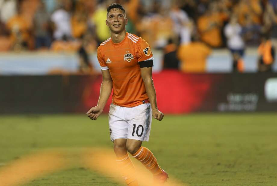 Houston Dynamo midfielder Tomas Martinez (10) shows off his dance moves after scoring a goal that gives the team the lead against the New York City at the 69th minute of the game during the second half of the MLS game at BBVA Compass Stadium on Friday, May 25, 2018, in Houston. The Houston Dynamo defeated the New York City 3-1. ( Yi-Chin Lee / Houston Chronicle ) Photo: Yi-Chin Lee/Houston Chronicle