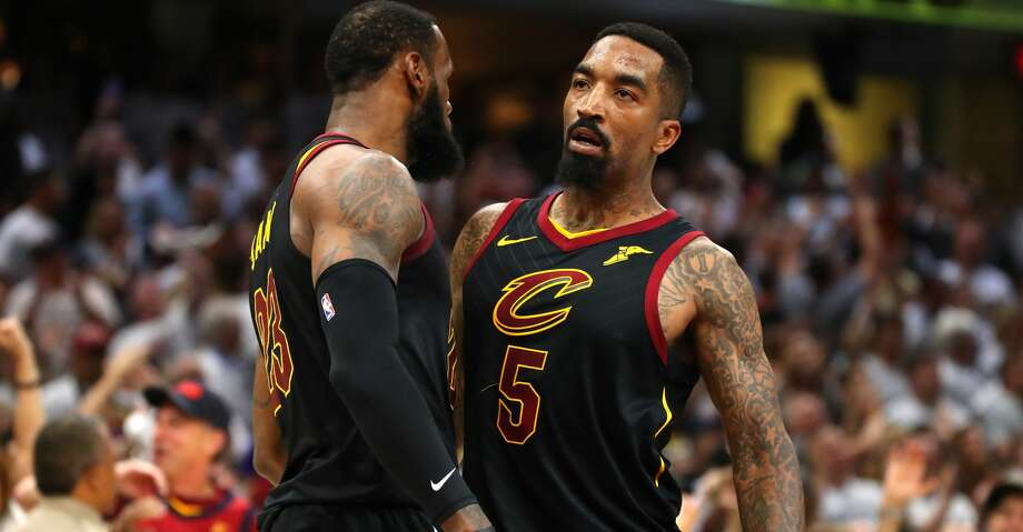 CLEVELAND, OH - MAY 25:  LeBron James #23 and JR Smith #5 of the Cleveland Cavaliers react after a basket in the fourth quarter against the Boston Celtics during Game Six of the 2018 NBA Eastern Conference Finals at Quicken Loans Arena on May 25, 2018 in Cleveland, Ohio. NOTE TO USER: User expressly acknowledges and agrees that, by downloading and or using this photograph, User is consenting to the terms and conditions of the Getty Images License Agreement.  (Photo by Gregory Shamus/Getty Images) Photo: Gregory Shamus/Getty Images