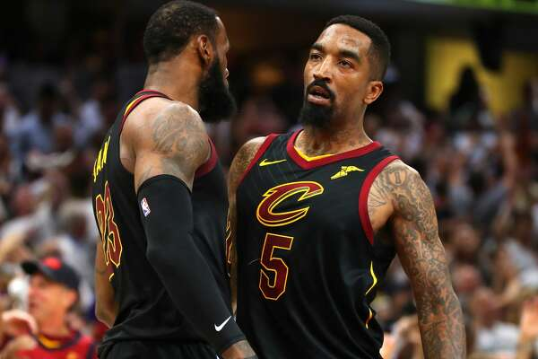 CLEVELAND, OH - MAY 25:  LeBron James #23 and JR Smith #5 of the Cleveland Cavaliers react after a basket in the fourth quarter against the Boston Celtics during Game Six of the 2018 NBA Eastern Conference Finals at Quicken Loans Arena on May 25, 2018 in Cleveland, Ohio. NOTE TO USER: User expressly acknowledges and agrees that, by downloading and or using this photograph, User is consenting to the terms and conditions of the Getty Images License Agreement.  (Photo by Gregory Shamus/Getty Images)