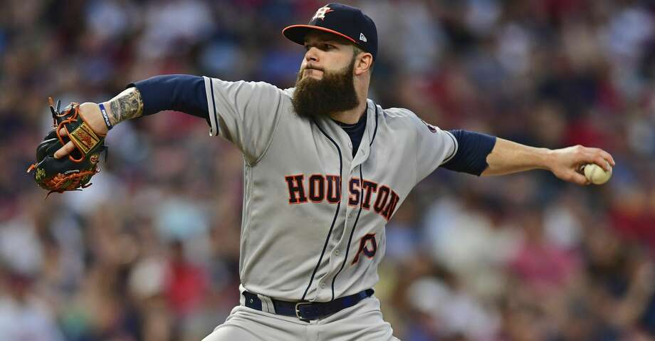 Houston Astros starting pitcher Dallas Keuchel throws during the fifth inning of the team's baseball game against the Cleveland Indians, Friday, May 25, 2018, in Cleveland. (AP Photo/David Dermer) Photo: David Dermer/Associated Press