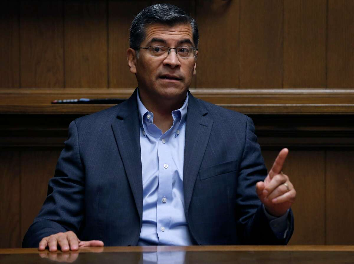California Attorney General Xavier Becerra, shown here in a meeting with the Chronicle Editorial Board in San Francisco, Calif. on Wednesday, April 25, 2018, is being sued by the First Amendment Coalition for his office's failure to release internal police records.
