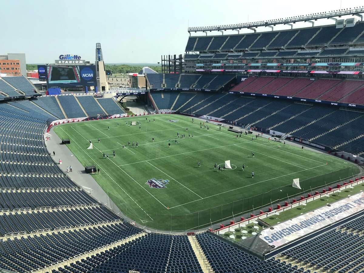 The UAlbany men's lacrosse team practices at Gillette Stadium in Foxborough, Mass., on Friday, May 25, 2018.