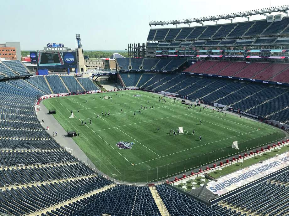 The UAlbany men's lacrosse team practices at Gillette Stadium in Foxborough, Mass., on Friday, May 25, 2018. Photo: Mark Singelais / Times Union