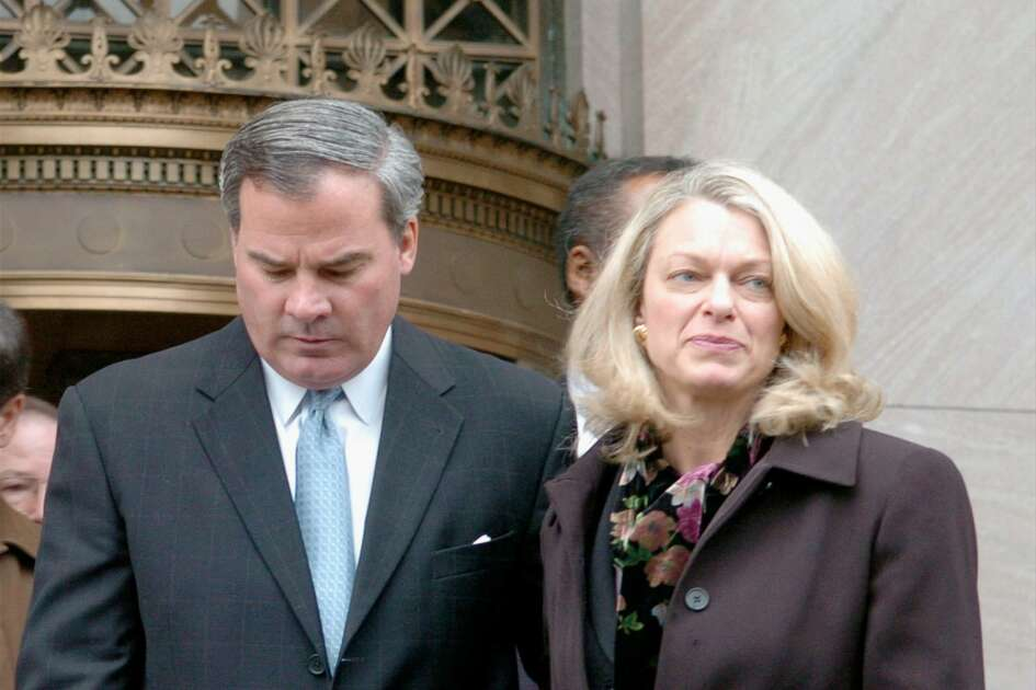 Former Governor John Rowland and wife Patty leave Federal Court in New Haven after he pleaded guilty Dec. 23, 2004.