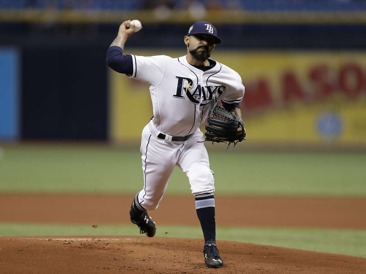 Tampa Bay Rays starting pitcher Sergio Romo during the first inning of a baseball game against the Baltimore Orioles on May 25, 2018.