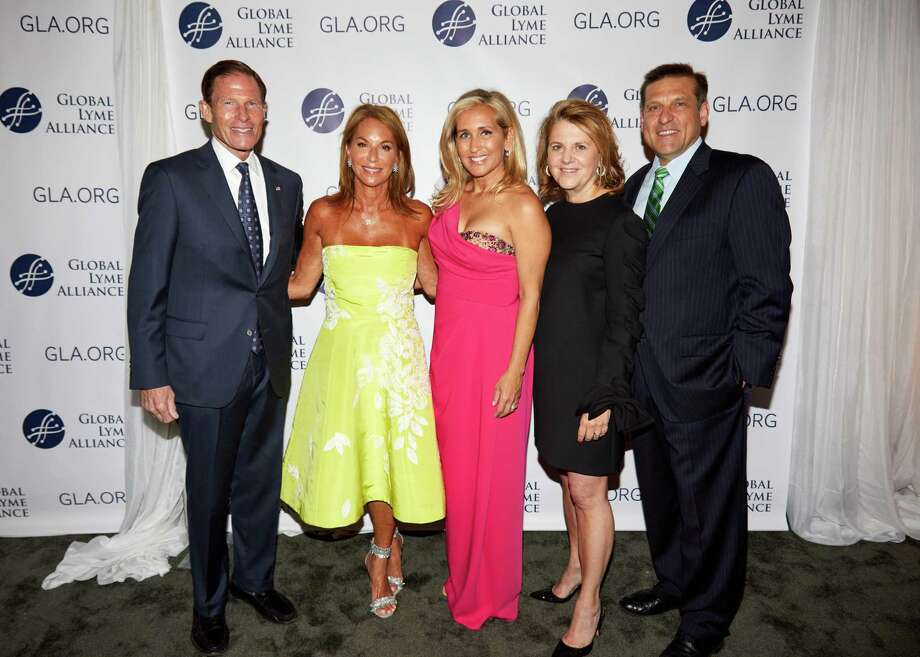 From left to right, Sen. Richard Blumenthal with the honorary event chairs at the gala for the Global Lyme Alliance, Sonya Rolin of Greenwich, Astrid Womble of Greenwich, and Stephanie Ercegovic of Westport along with GLA CEO Scott Santarella at the nonprofit's annual Greenwich Gala on May 12. Photo: Contributed /