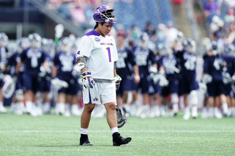 BOSTON, MA - MAY 26: Tehoka Nanticoke #1 of Albany reacts after his teams 20-11 loss to Yale in the  2018 NCAA Division I Men's Lacrosse Championship Semifinals at Gillette Stadium on May 26, 2018 in Foxboro, Massachusetts. Photo: Maddie Meyer, Getty / 2018 Getty Images