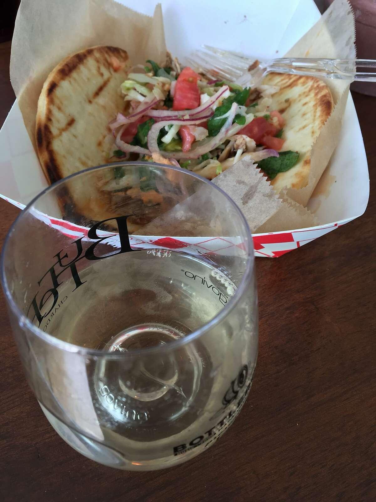 Tarla chicken kebab and Twomey Sauvignon Blanc.