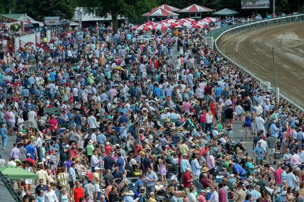 A large crowd was on hand for the 148th running of The Travers Stakes at the Saratoga Race Course in Saratoga Springs, N.Y.  (Skip Dickstein/Times Union)