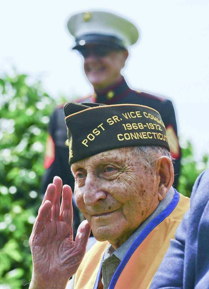 Fred W. Intrieri, 93, salutes as he is recognized during Cos Cob VFW Post 10112  Memorial Day ceremony at the Veterans of Foreign Wars Memorial on May 26, 2018 in Greenwich, Connecticut. Photo: Matthew Brown / Hearst Connecticut Media / Stamford Advocate