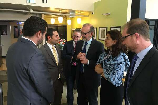 Carlos Sada meets with Mexican consulate leaders from along the west coast in San Francisco Friday.