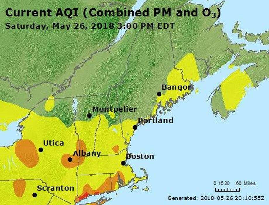 The air quality for Bridgeport and Westport, Conn., reached unhealthy levels on May 26, 2018. Photo: Contributed Photo / DEEP