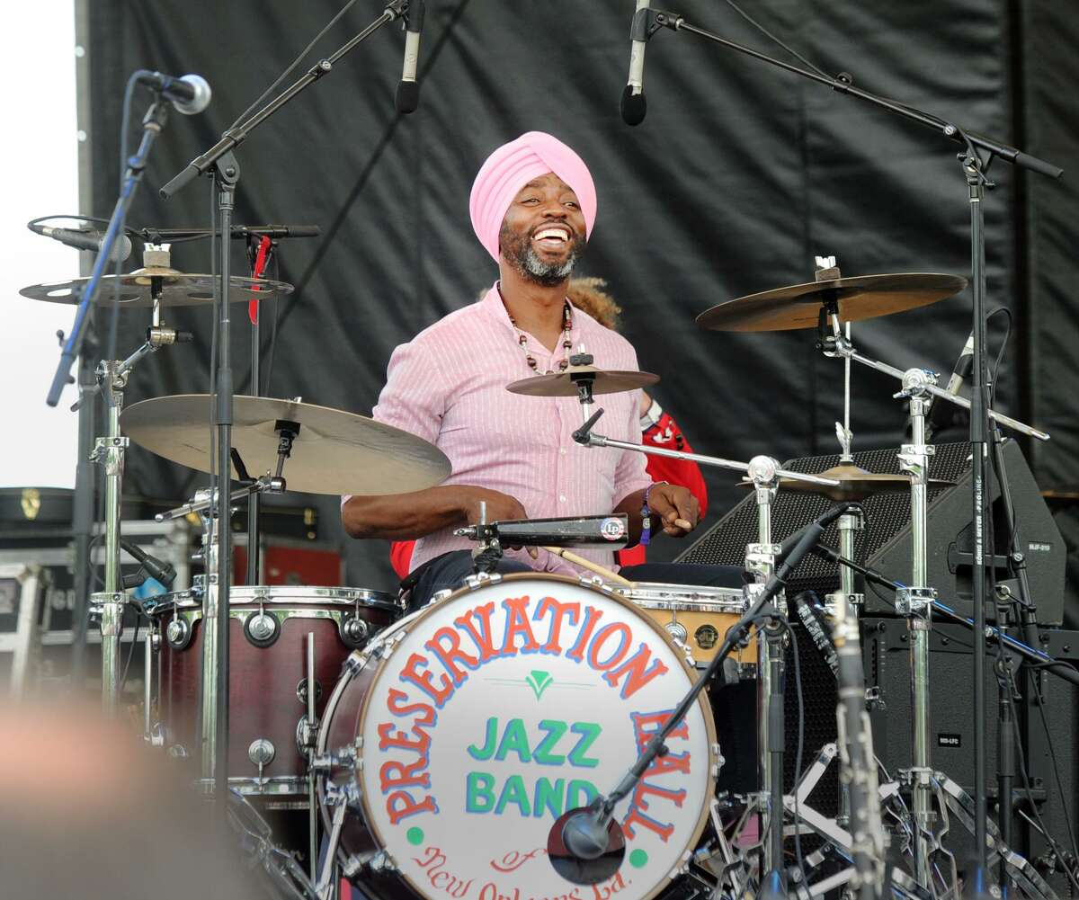 Preservation Hall Jazz Band drummer Walter Harris performs during the Greenwich Town Party at Roger Sherman Baldwin Park in Greenwich, Conn., Saturday, May 26, 2018. The annual outdoor concert event and party is in its eighth year and regularly draws more than 8,000 people throughout the day at the waterfront park that overlooks Greenwich Harbor.