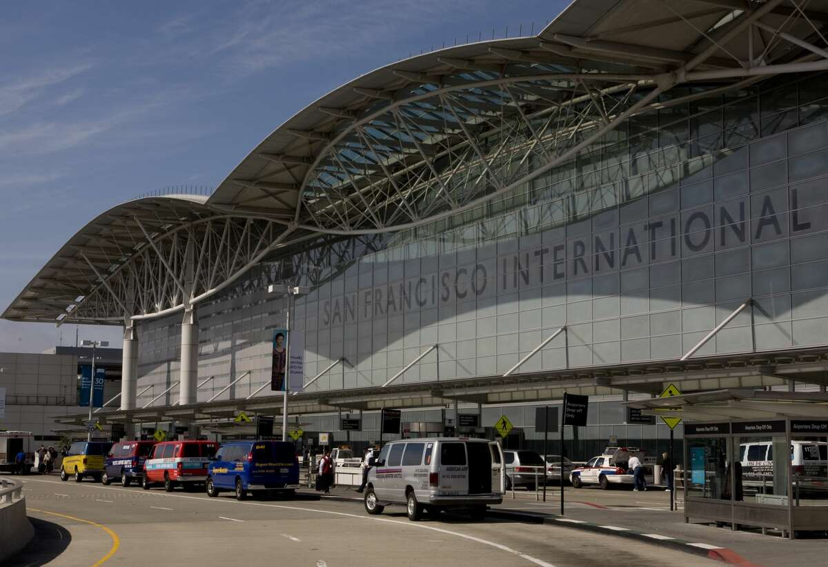 SAN FRANCISCO, CA - 2009: The entrance to San Francisco International Airport is seen in this 2009 San Francisco, California, exterior photo. (Photo by George Rose/Getty Images)