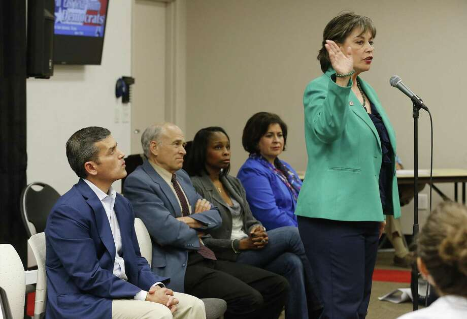 FILE -- Cynthia Brehm (right) addresses the audience at a mayoral candidate forum hosted by the North East Bexar County Democrats at Tri-Point on Saturday, Apr. 4, 2015. Photo: Kin Man Hui, Staff / San Antonio Express-News / ©2015 San Antonio Express-News