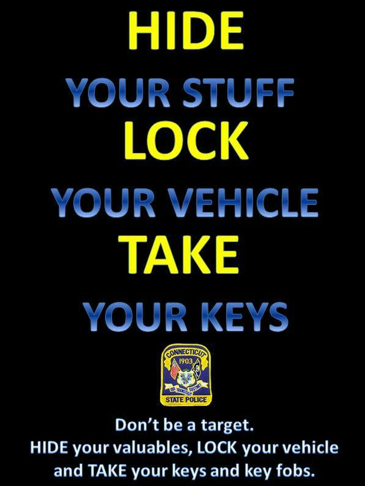 After a pursuit involving a stolen vehicle, state police are urging residents to lock their cars and not to leave their keys in their car.