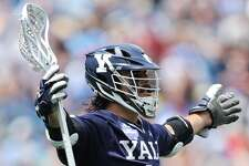 Yale's Matt Gaudet celebrates after scoring a goal against Albany in Saturday's NCAA championship semifinal.
