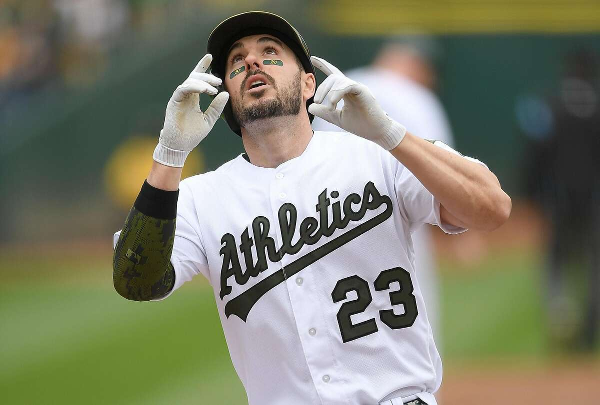 OAKLAND, CA - MAY 26: Matt Joyce #23 of the Oakland Athletics celebrates after hitting a leadoff solo home run against the Arizona Diamondbacks in the bottom of the first inning at the Oakland Alameda Coliseum on May 26, 2018 in Oakland, California. (Photo by Thearon W. Henderson/Getty Images)