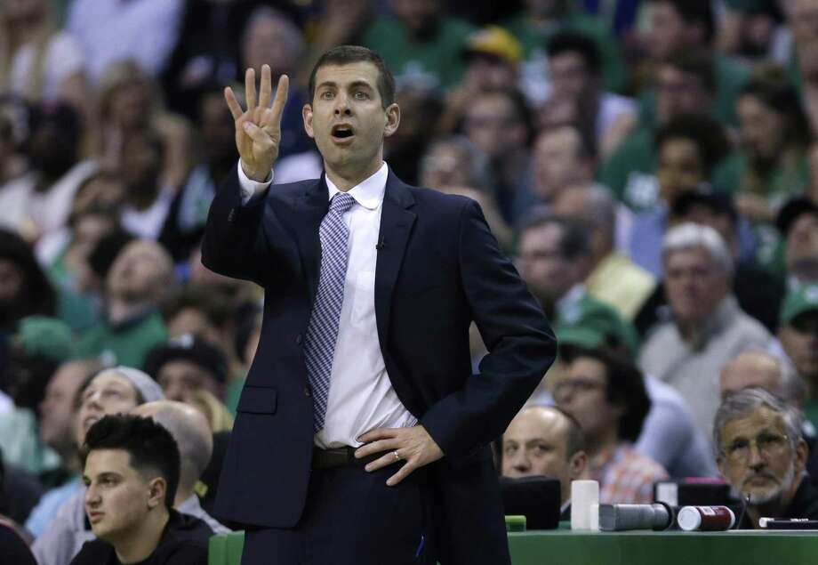Boston Celtics coach Brad Stevens gestures to his team during the first quarter of Game 5 of the NBA basketball Eastern Conference finals against the Cleveland Cavaliers, Wednesday, May 23, 2018, in Boston. (AP Photo/Charles Krupa) Photo: Charles Krupa, STF / Associated Press / Copyright 2018 The Associated Press. All rights reserved.