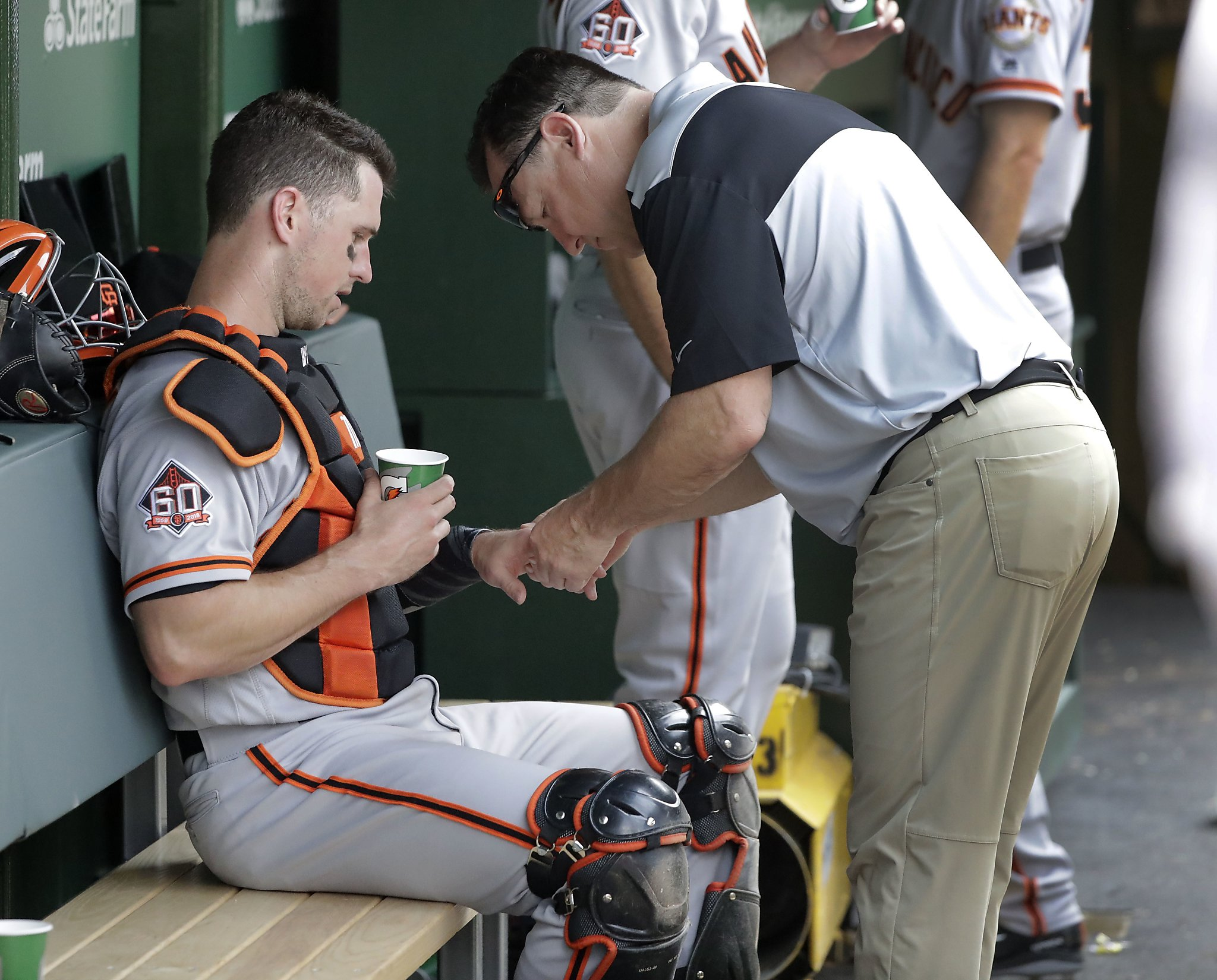 cd9f8328a612c Giants  Buster Posey out of lineup with hip soreness - SFGate