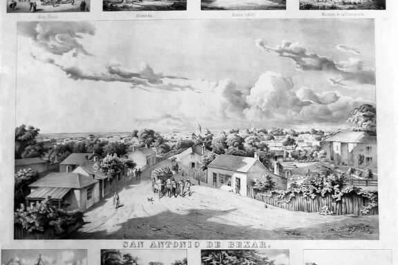 This black-and-white lithograph made in 1867 is a print of original color artworks of downtown San Antonio scenes painted by German-born landscape artist Hermann Lungkwitz, who moved to San Antonio in 1866.