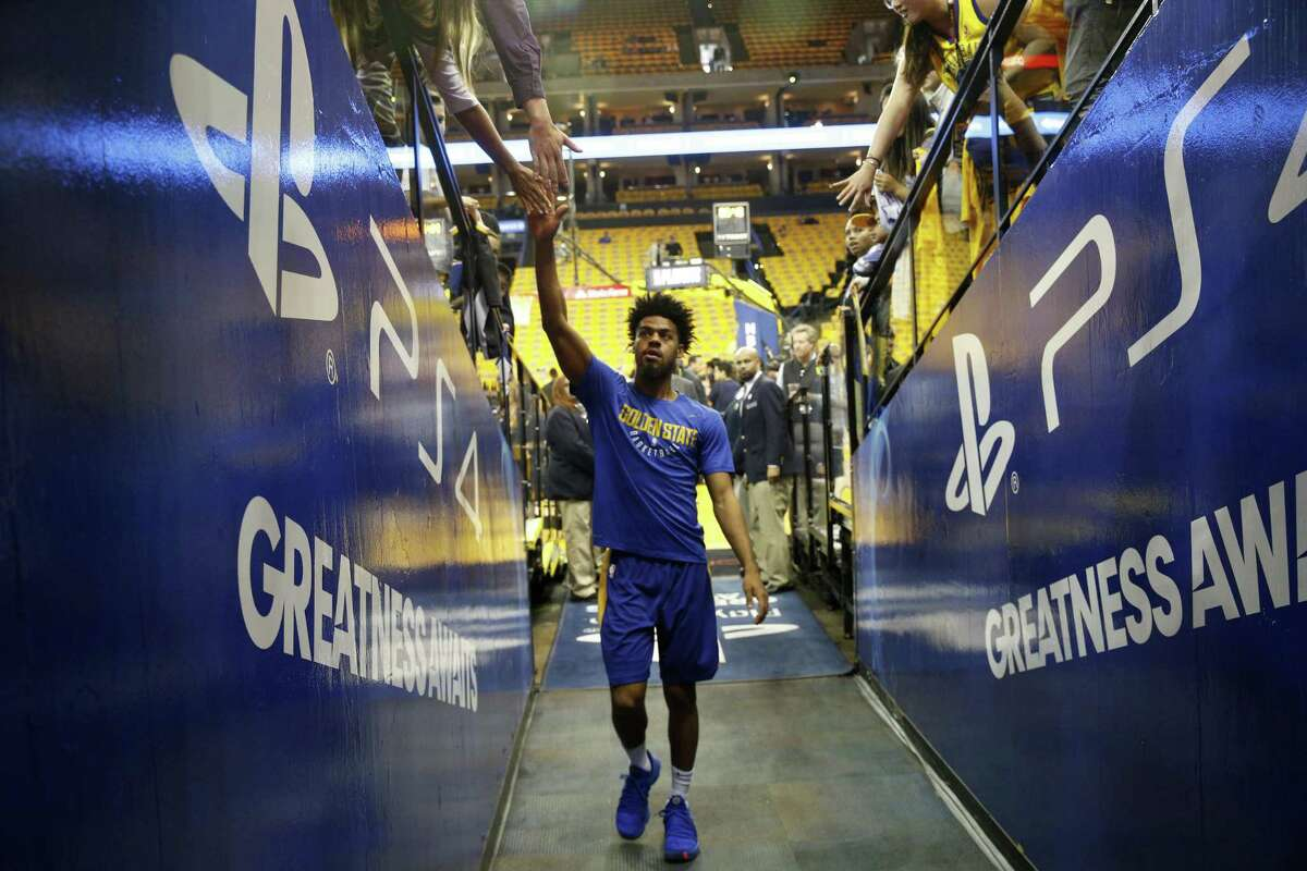 Warriors Quinn Cook,4 heads for the locker room during warm ups before the start of the game, as the Golden State Warriors prepare to take on the San Antonio Spurs in game 5 in the first round of the Western Conference Finals in NBA playoffs in Oakland Calif. on Tues. April 24, 2018.
