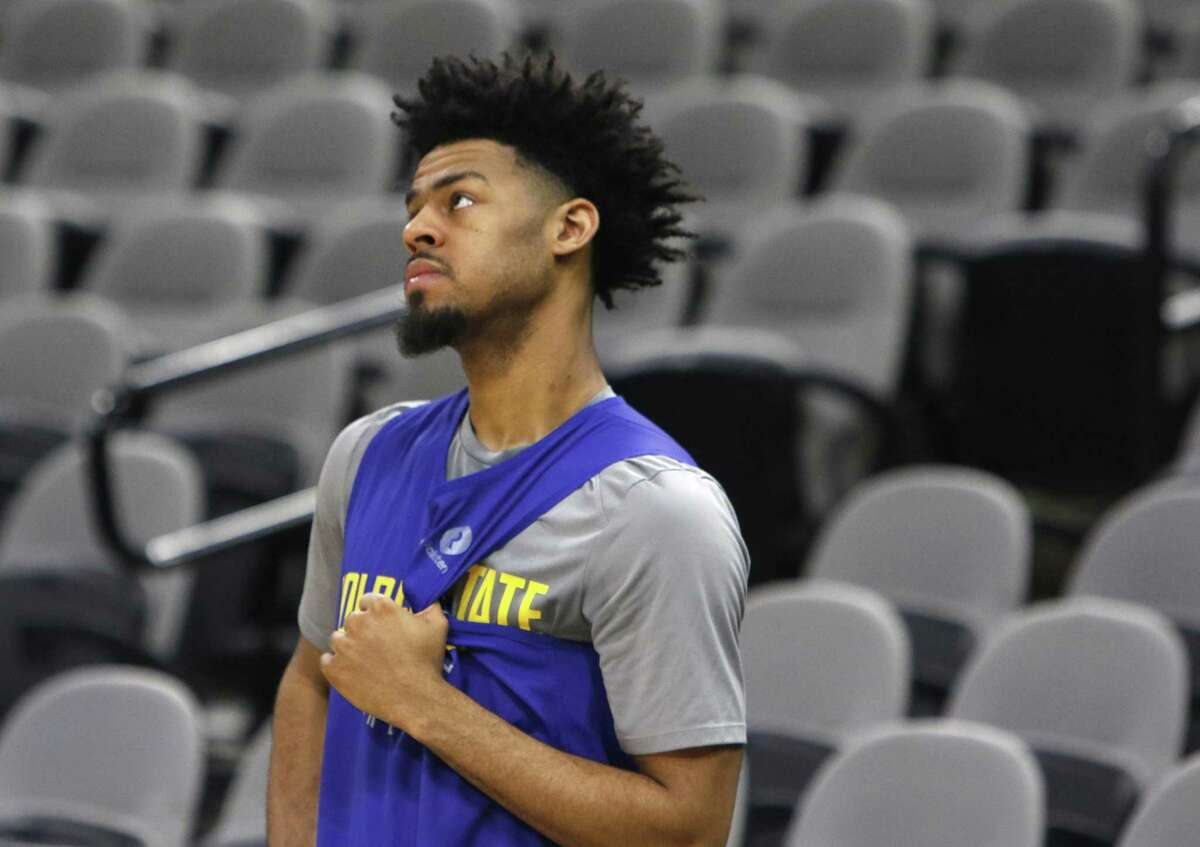 Quinn Cook #4 of the Golden State Warriors in a quit moment during practice. Golden State Warriors practice at the AT&T Center on Wednesday, April 18 ,2018.