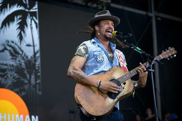 Michael Franti performs at the JaM Cellars stage at BottleRock Music Festival in Napa, Calif. on Saturday, May 26, 2018.