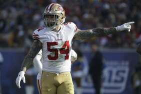 San Francisco 49ers defensive end Cassius Marsh (54) against the Los Angeles Rams during the first half of an NFL football game Sunday, Dec. 31, 2017, in Los Angeles. (AP Photo/Rick Scuteri)
