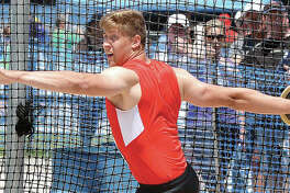 Roxana's Jordan Hawkins lets go with a toss during the discus finals Saturday in the IHSA Class 2A Boys State Track and Field Meet at Eastern Illinois University's O'Brien Stadium in Charleston. Hawkins, a University of Iowa recruit, finished second.