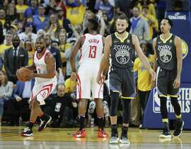 Houston Rockets' Chris Paul reacts before officials called a foul putting .5 seconds back on the game clock during game 4 of the Western Conference Finals between the Golden State Warriors and the Houston Rockets at Oracle Arena on Tuesday, May 22, 2018 in Oakland, Calif.