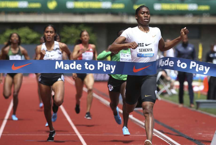 South Africa's Caster Semenya breaks the tape to win the women's 800 meters at the Prefontaine Classic in Eugene. Photo: Chris Pietsch / Eugene Register-Guard