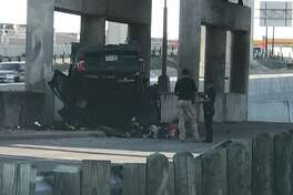 Authorities say multiple lanes of Loop 410 and U.S. 90 have been closed after a vehicle flipped over and off U.S. 90 and onto Loop 410 Saturday afternoon, May 26, 2018.