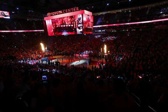 Pre game ceremonies before Game 5 of the Western Conference Finals at Toyota Center, Thursday, May 24, 2018, in Houston.  ( Karen Warren  / Houston Chronicle )