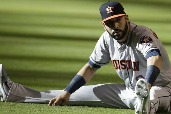 Houston Astros left fielder Marwin Gonzalez (9) in the first inning during a baseball game against the Arizona Diamondbacks, Saturday, May 5, 2018, in Phoenix. (AP Photo/Rick Scuteri)