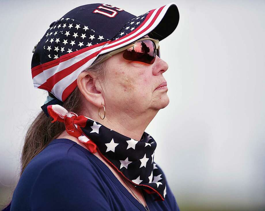 """Massachusetts resident Shirley Cox, formerly of West Haven attends the 11th phase of the Veterans Walk of Honor at Bradley Point Park in West Haven, Saturday, May 26, 2018. Cox said, """"I have brick dedicated today for Sgt. Frank DeBettencourt III who served in the United States Marine Corp from 1969-1973. He was my everything."""" Photo: Catherine Avalone, Hearst Connecticut Media / New Haven Register"""