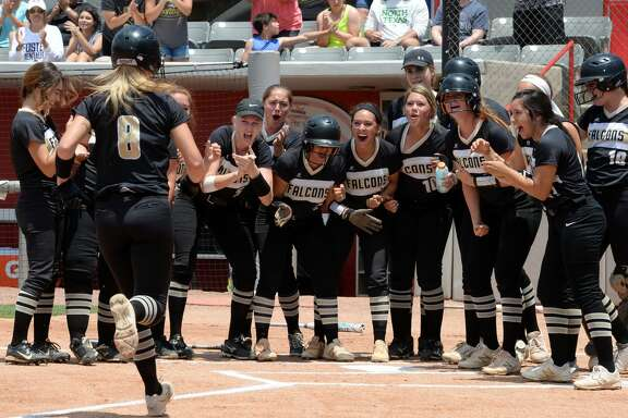 The Falcons celebrate following a home run by Kacie Pryor (8) during the first inning in Game 2 of a 5A-IV regional final playoff game between the Foster Falcons and the Angleton Wildcats on Saturday May 26, 2018 at the University of Houston, Houston, TX.