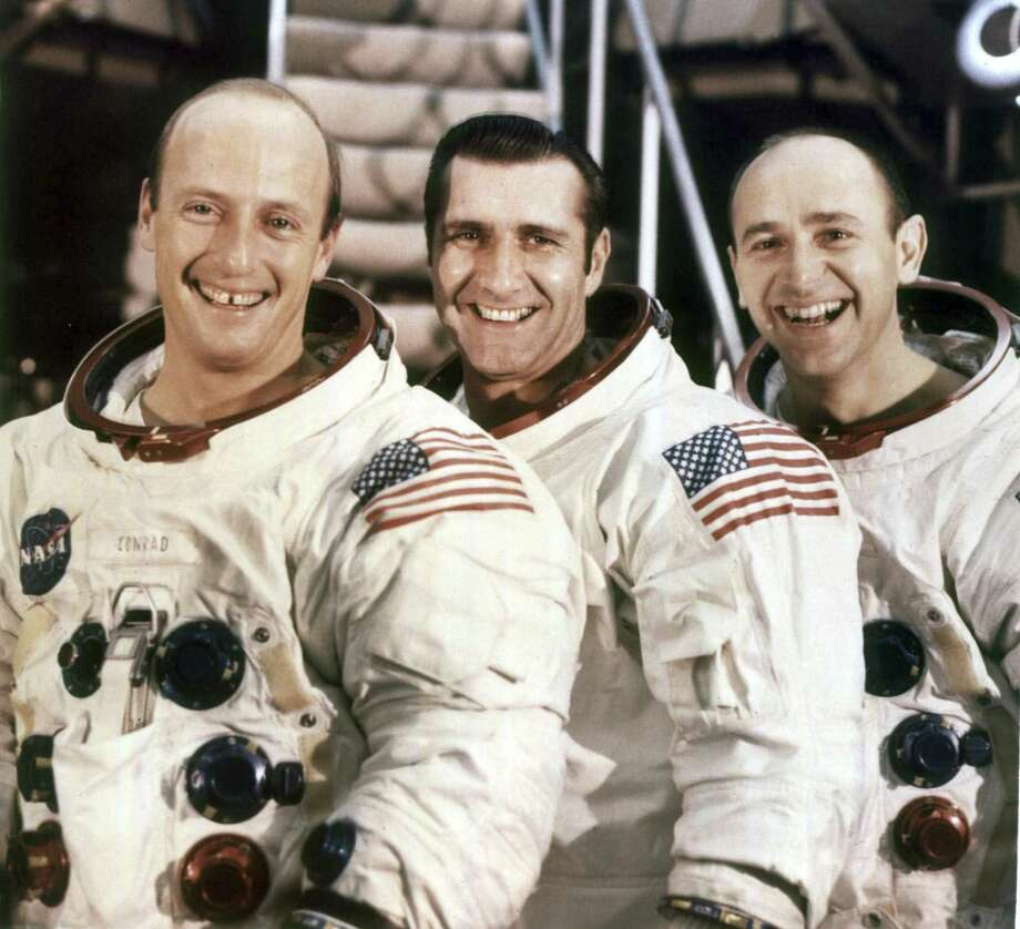Astronaut Alan Bean, right, with his Apollo 12 crewmembers, Pete Conrad, left and Richard Gordon. Bean died in May at 86. Photo: NASA Via New York Times, HO / NYT / NASA