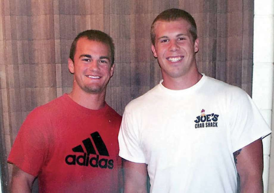Joe Allaria of Edwardsville, left and SIUC roommate and Salukis football teammate Jason Seaman in an August 2007 photo. Seaman, now a teacher, is being lauded as a hero for thwarting a school shooter Friday in Noblesville, Ind. despite being shot three times.
