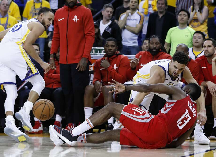 James Harden and the Rockets took a tumble during the second half of Game 6 on Saturday, scoring just 25 points. Photo: Karen Warren/Houston Chronicle