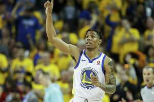 Golden State Warriors' Patrick McCaw reacts after scoring in the fourth quarter during game 6 of the Western Conference Finals between the Golden State Warriors and the Houston Rockets at Oracle Arena on Saturday, May 26, 2018 in Oakland, Calif.