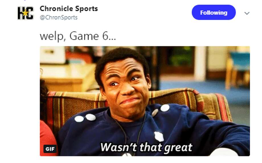Source: TwitterBrowse through the photos for more memes from Rockets-Warriors Game 6. Photo: Source: Twitter