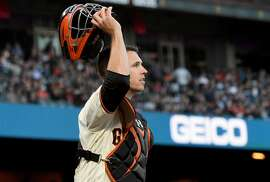 SAN FRANCISCO, CA - JUNE 13:  Buster Posey #28 of the San Francisco Giants in action against the Kansas City Royals in the top of the third inning at AT&T Park on June 13, 2017 in San Francisco, California.  (Photo by Thearon W. Henderson/Getty Images)