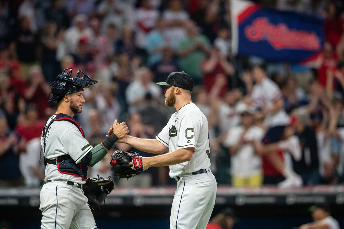 CLEVELAND, OH - MAY 26: Catcher Yan Gomes #7 celebrates with closing pitcher Cody Allen #37 of the Cleveland Indians after the Indians defeated the Houston Astros 8-6 at Progressive Field on May 26, 2018 in Cleveland, Ohio. (Photo by Jason Miller/Getty Images)