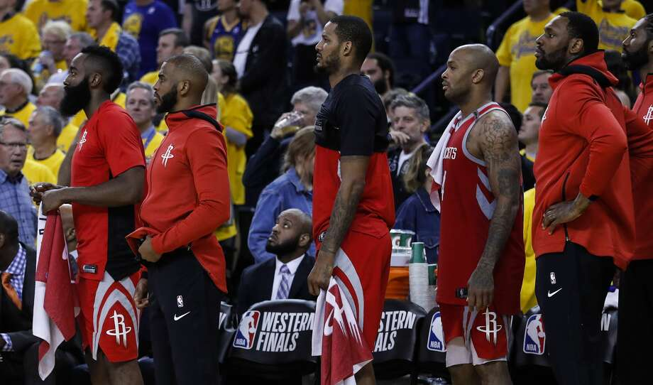 The status of the injured Chris Paul (second from left) will be one of the keys to the Rockets' Game 7 hopes. Photo: Karen Warren/Houston Chronicle