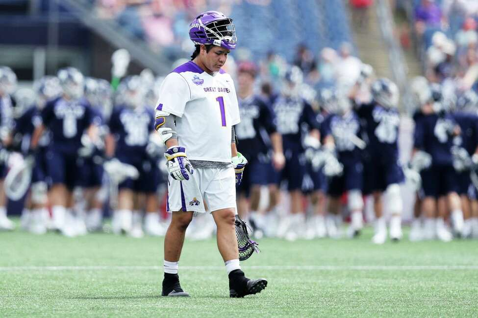 BOSTON, MA - MAY 26: Tehoka Nanticoke #1 of Albany reacts after his teams 20-11 loss to Yale in the 2018 NCAA Division I Men's Lacrosse Championship Semifinals at Gillette Stadium on May 26, 2018 in Foxboro, Massachusetts.(Photo by Maddie Meyer/Getty Images)