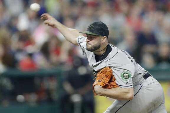 Houston Astros starting pitcher Lance McCullers Jr. delivers in the fifth inning of a baseball game against the Cleveland Indians, Saturday, May 26, 2018, in Cleveland. (AP Photo/Tony Dejak)