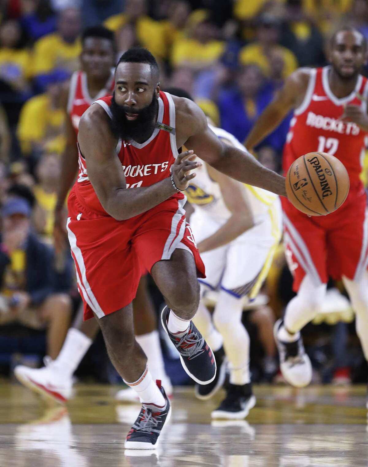 Houston Rockets guard James Harden (13) runs the ball upcourt against the Golden State Warriors during the first half of Game 6 of the NBA Western Conference Finals at Oracle Arena, Saturday, May 26, 2018, in Oakland. ( Karen Warren / Houston Chronicle )